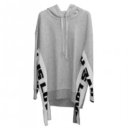 GREY WIDE SWEATSHIRT WITH HOOD