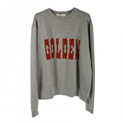 GREY SWEATSHIRT WITH RED PRINTED LOGO