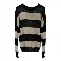 GREY AND BLACK STRIPED PULLOVER