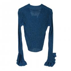 BLUE RIBBED LUREX CARDIGAN