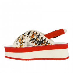 WHITE AND RED FLATFORM SANDAL WITH STONES