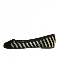 BLACK FLAT SHOE WITH VELVET STRIPES
