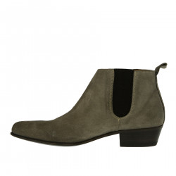 GRAY SUEDE ANKLE BOOTS