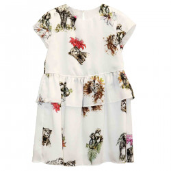 SAVANA PRINT WHITE DRESS