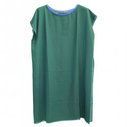 GREEN DRESS WITH BLUE COLLAR