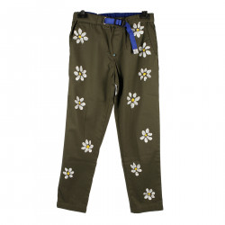 GREEN TROUSERS WITH FLOWERS