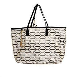 LAURA WHITE AND BLACK SHOPPING BAG