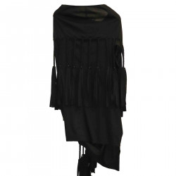 BLACK SWEATER WITH FRINGES