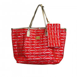 LAURA RED AND SILVER SHOPPING BAG
