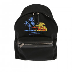 BLACK BACKPACK WITH FRONTAL PRINT