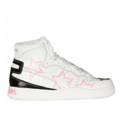 WHITE BASKET SNEAKER WITH PINK STARS