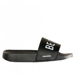BLACK SLIPPERS WITH WHITE WRITTEN
