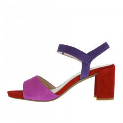 RED AND VIOLET SUEDE SANDAL