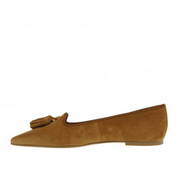 SUEDE FLAT SHOE WITH TASSELS