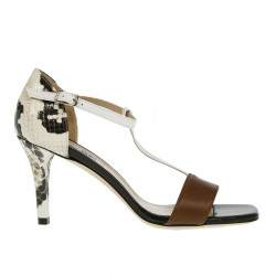 BROWN AND BLACK SANDAL WITH PYTHON DESIGN