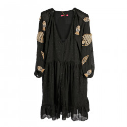 BLACK DRESS WITH STONES APPLICATIONS
