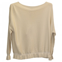 BEIGE RIBBED SWEATER
