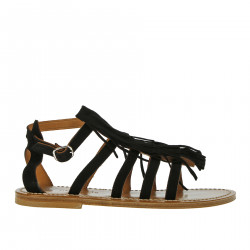 BLACK SANDAL WITH FRINGES