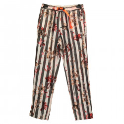 WHITE AND GRAY STRIPED TROUSERS WITH FANTASY