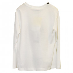WHITE CREAM SWEATER WITH FRONTAL PRINT