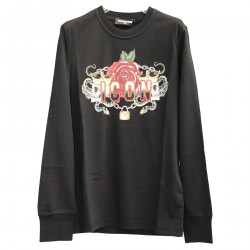 BLACK SWEATER WITH FANTASY DESIGN