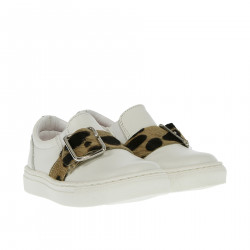 WHITE SHOE WITH CAVALLINO MACULATED BUCKLE