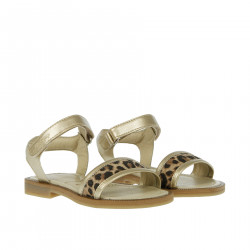GOLD AND ANIMALIER SANDALS