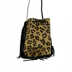 ANIMALIER CALF HAIR BUCKET BAG