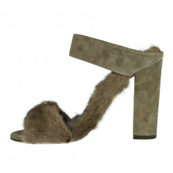 GREY SANDAL WITH FUR