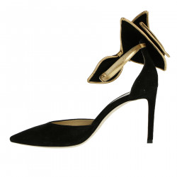 BLACK SUEDE SANDAL WITH BOW