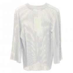 WHITE RIBBED SWEATER