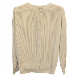 BEIGE RIBBED CARDIGAN