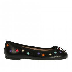 BLACK FLAT SHOE WITH STUDS