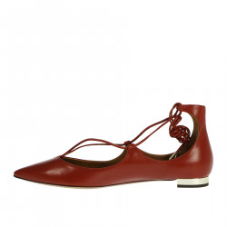 RED LEATHER FLAT SHOE