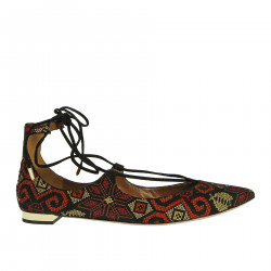 SUEDE EMBROIDERED FLAT SHOE