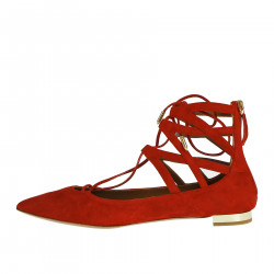 RED SUEDE FLAT SHOE