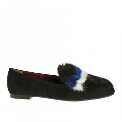 BLACK SUEDE LOAFER WITH FUR