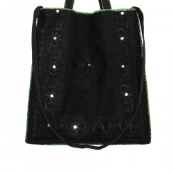 BLACK SHOULDER BAG WITH EMBROIDERY DETAILS