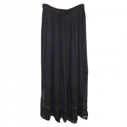 BLACK LONG SKIRT WITH EMBROIDERY