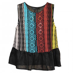 BLACK TOP WITH MULTICOLOR DETAILS