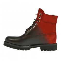 BLACK AND RED LEATHER BOOT