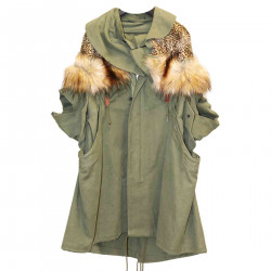 MILITARY GREEN PARKA WITH ECO FUR