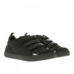 BLACK GLITTER SNEAKER WITH STRAPS