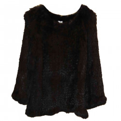 PONCHO IN DARK BLUE FUR