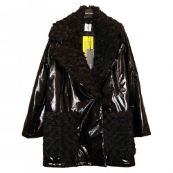 SHINY BLACK JACKET WITH ECO-FUR INSERTS