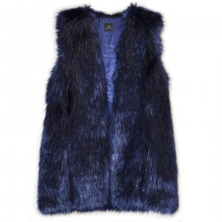 BLUE ECO FUR VEST