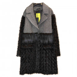 BLACK AND SILVER COAT WITH ECO-FUR INSERTS