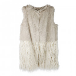 BEIGE VEST IN ECO FUR