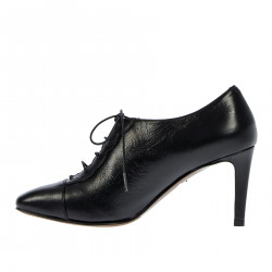 BLACK LACE UP SHOE WITH HEEL