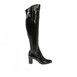 BLACK PATENT LEATHER HIGH BOOT